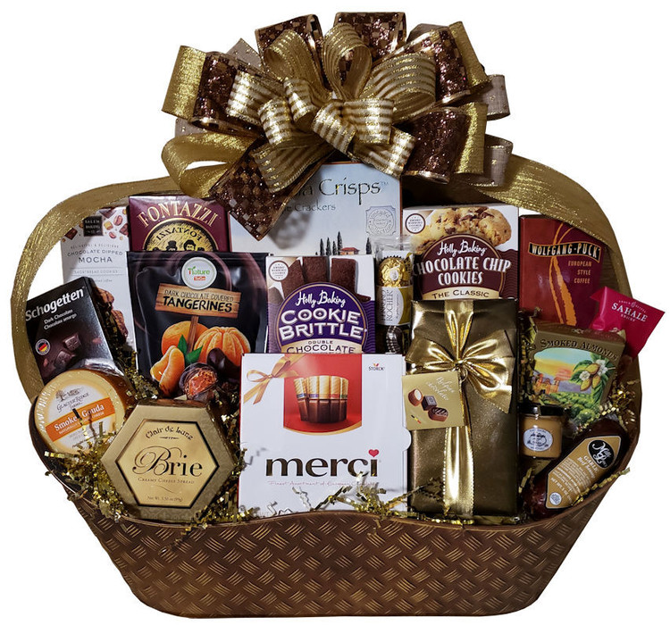 This gorgeous bronze tin is overflowing with a large assortment of sweet and savory gourmet items that the whole team or whole family can share! Includes assorted European style chocolates, fine Belgian chocolates, almonds,  Brie cheese, Gouda cheese, Focaccia crackers, German chocolate, dark chocolate tangerines, sausage, mustard, assorted gourmet cookies, honey mustard pretzels, European style pretzels and more.  This gift can be decorated for any occasion, including: birthday, thank you, congratulations, condolence, housewarming, and makes a great corporate gift to thank special clients.