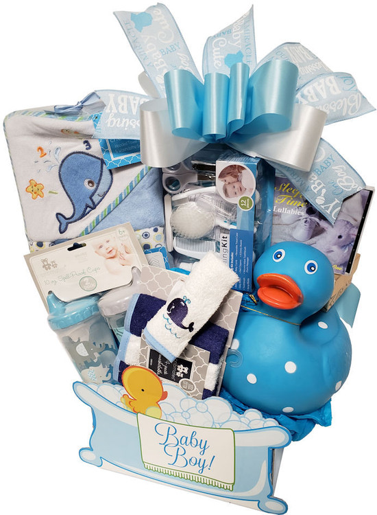 This adorable gift box overflowing with baby bath and grooming gifts is as functional as it is precious. Includes a complete, 12 piece baby  grooming kit, two training cups, hooded bath towel, washcloths, a lullaby music cd, a ducky or plush toy, and the designer, baby themed gift box  will make a cute organizer in the nursery.