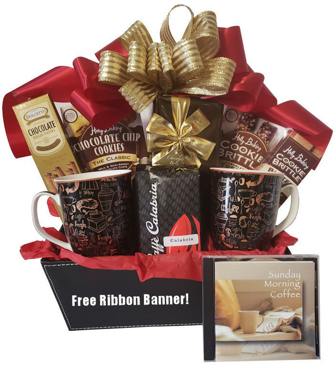 A striking coffee themed gift in a leatherette tray basket. It includes two elegant coffee mugs, delicious caffe Calabria coffee, Belgian chocolate truffles, chocolate brittle cookies, chocolate chip cookies, butter cookies and Sunday Morning Coffee music cd. Great gift for any occasion including birthday, thank you, housewarming and holiday.