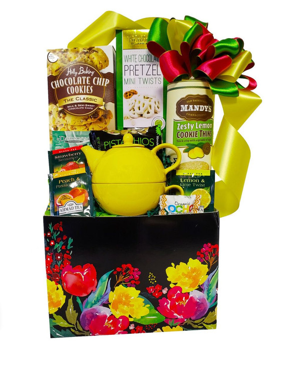 A bright  and cheery spring basket that includes a tea for one set, cookies, chocolates, pretzels, nuts and assorted teas.  Items of equal or greater value may be substituted depending on availability and the discovery of great new seasonal items.