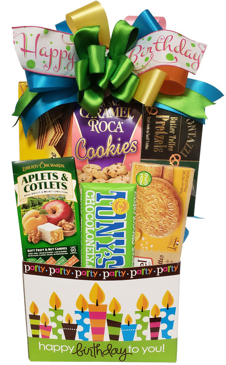A festive birthday box filled with chocolates, cookies, confections, honey mustard pretzels and snacks. The box makes a great organizer when the goodies are gone.  Items of equal or greater value may be substituted depending on availability and the discovery of great new seasonal items.