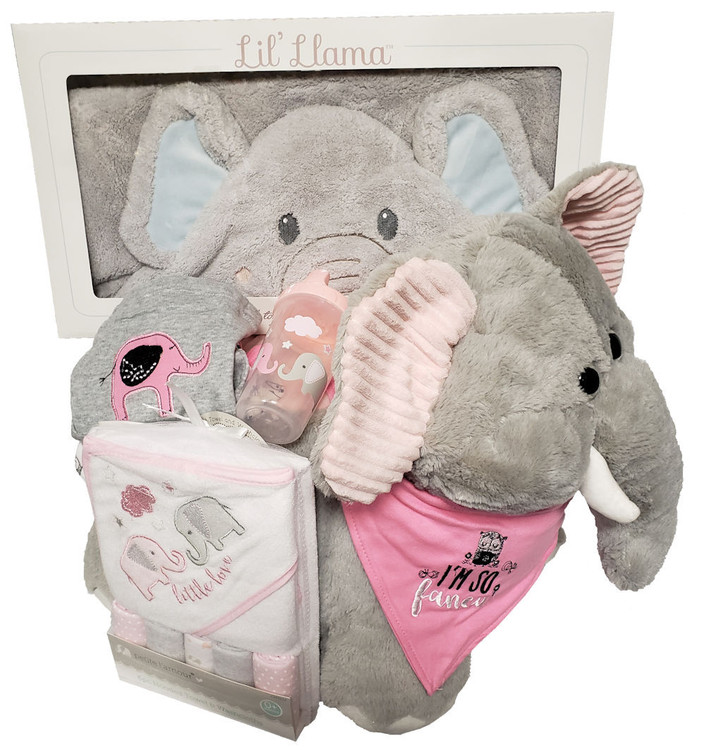 Not only absolutely adorable, but also soft and cozy for baby! The baby elephant chair will look cute in the nursery and can be enjoyed when the baby becomes a toddler (which happens fast!) this gift includes:  Plush Elephant Chair A soft, plush elephant hooded towel  elephant terry bath set Adorable Baby Elephant outfit Elephant sippy cup.  All wrapped up for baby girl or boy and topped with a hand made bow     Please specify baby girl or baby boy in the note section.   Items of equal or greater value may be substituted depending on availability.