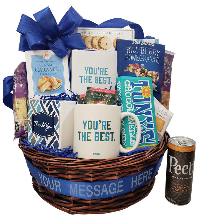 """What a great way to thank or acknowledge a client, referral source, employee, colleague or friend! The ribbon banner can be personalized with any text of your choice. Just put """"banner"""" and the text you would like in the note section of the order. The mug will be a lasting memory of your thoughtfulness and gratitude, and the delicious goodies include:  Four assorted, freshly baked brownies in a festive Thank You Box A festive mug and matching gift box  Delicious Cookies Coffee Shortbread cookies Chocolate filled pastry cookies Tea Biscotti Scrumptious gourmet chocolate  Items of equal or greater value may be substituted depending on availability and the discovery of great new seasonal items."""