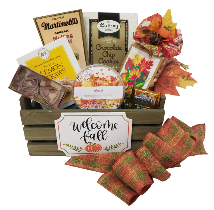 A Fall leaf bottle opener is included in this gift along with nuts, chocolate, chocolate chip cookies, lemon cookies, a festive Fall snack mix, and mulling cider, all presented in a wood crate.  Items of equal or greater value may be substituted depending on availability and the discovery of great new seasonal products.
