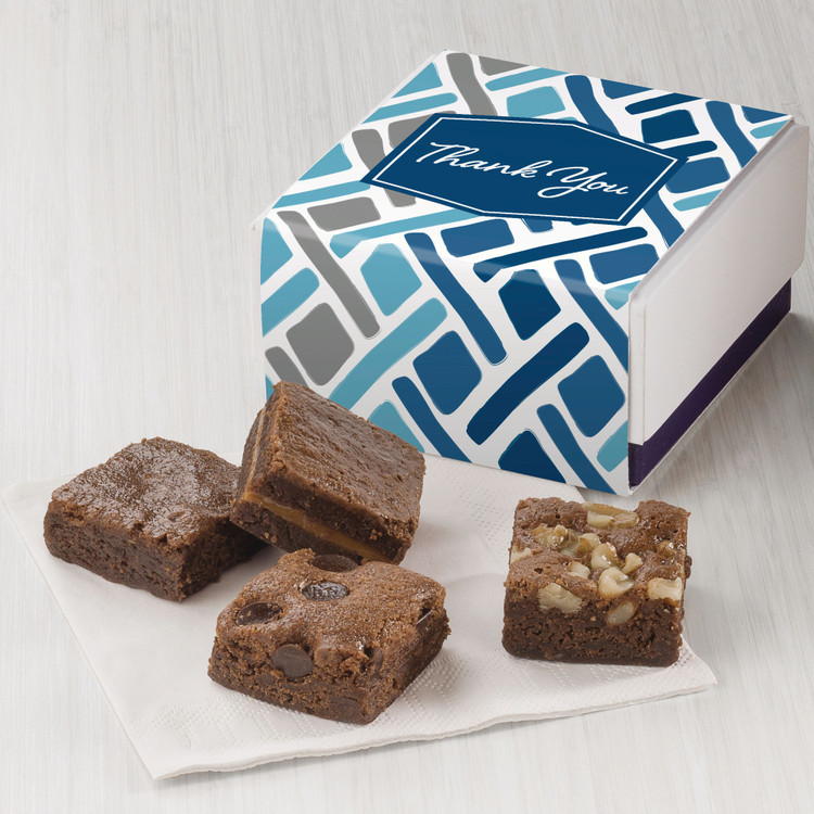 The most delicious, freshly baked,  assorted, chocolate brownie morsels on the planet! This elegant little favor makes a huge impression! Use them as a warm call gift,  a delicious surprise for your hard working team, party favors for a meeting or event, and more. The box can be personalized and branded at no additional price! Minimum 6.