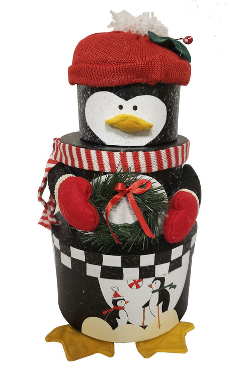 This adorable Penguin is actually 3 stacking boxes filled with decadent chocolates, confections, cookies, nuts pretzels and snacks.  Always delivers big smiles and makes a festive decorative accent or centerpiece during the holidays. It also makes a perfect hostess gift if you are invited to a holiday party.