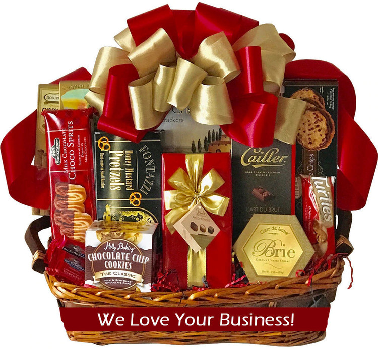 Great Business Appreciation basket. Can be designed in corporate colors. Also makes a great raffle prize.  Perfect for the whole team to share! Includes  assorted cookies, fine chocolates, nuts, pretzels, and more all elegantly presented in an elegant tray basket.