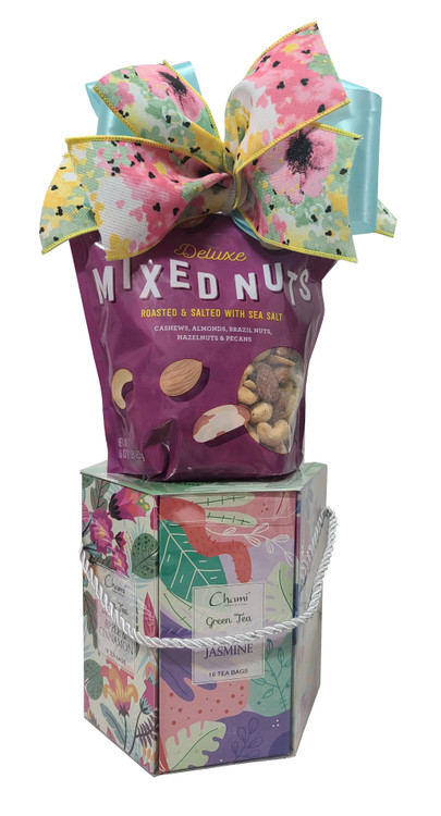 A one pound bag of roasted and salted mixed nuts that includes, cashews, almonds, brazil nuts, hazelnuts and pecans along with a beautiful spring tea caddy with assorted teas including Apple Cinnamon, Jasmine, Earl Grey, Orange Spice, Lemon Honey, and Pomegranate. It is healthy, gluten free, sugar free, Keto friendly, guilt free and yummy. While quantities last. Note: This item is for shipping only so allow one to 5 days transit time depending on destination. If you want to arrange a contact free pick up, give us a call.