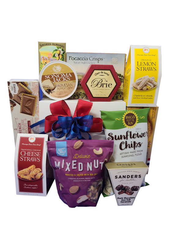 A gift box full of sweet and savory gourmet items and snacks perfect to share with family. Great for a family movie night.