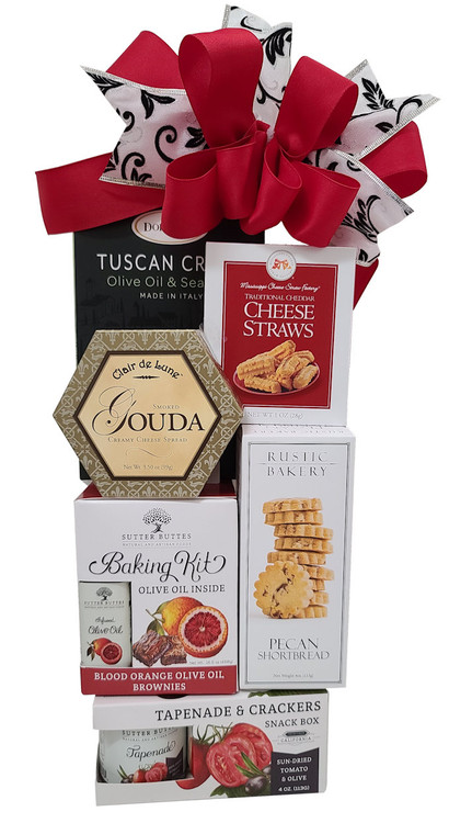 A tower of savory treats to share and a triple award winning brownie baking kit, complete with Belgian Chocolate chunks, gold medal winning olive oil, and the brownie mix.
