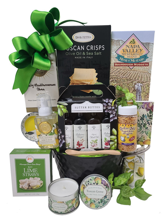 Any Home Chef would love this elegant gift! It includes a set of olive oils and vinegars, olives,  foaming hand wash, candle in a decorative tin, and upscale gourmet items in a modern black and silver tin.