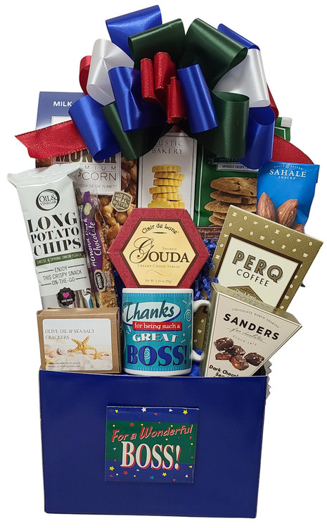 "This would make any boss feel special! Includes a ""Best Boss"" mug, caramel corn, Rustic Bakery lemon cookies, chocolate chip cookies, coffee, chocolate sea salt caramels, savory long chips, biscotti, cheese, crackers, and nuts."