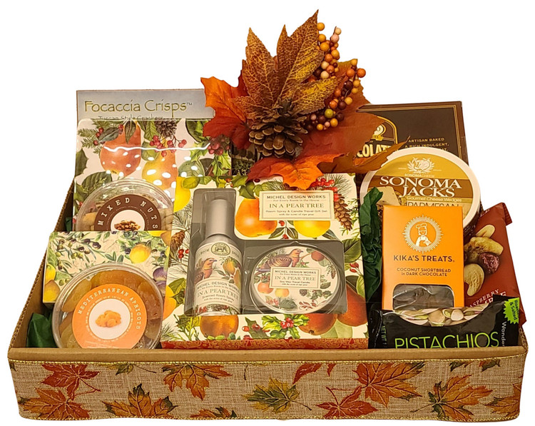 This striking gift includes a beautiful gift boxed pear tree candle and room freshener, a matching melamine dessert plate, decorative match box, gourmet cookies, mixed nuts, dried apricots, pistachios, and Sonoma Jack Cheese & crackers.