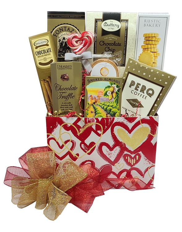 "Our ""Heart Of Gold"" gift box is a great way to acknowledge a friend or loved one who is always thinking of others. We can include a ribbon banner that says ""Heart Of Gold"" if you request it. Includes:  Chocolate Truffles California Almonds Coffee Cookies Shortbread Toffee Pretzels Chocolate filled, rolled pastry cookies A Strawberry Shortcake, heart shaped lollipop Gift Box that makes a great organizer Items of equal or greater value may be substituted depending on availability."