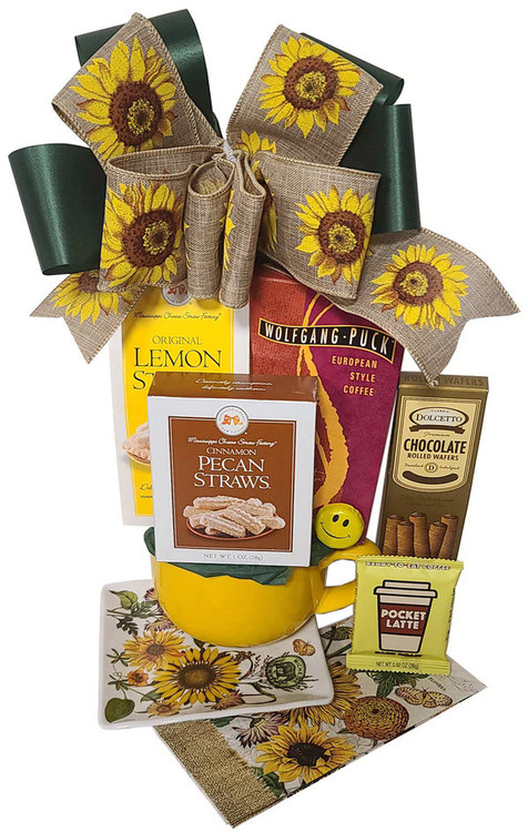 This gift is great for any occasions and will brighten up your recipient's day! It includes a yellow soup mug, perfect for ice cream, cereal, snacks, soup, or a large coffee, tea or cocoa. Also featured is a beautiful melamine, sunflower themed snack plate, chocolates, rolled and chocolate filled pastry cookies, assorted cookies and European style coffee.  Items of equal or greater value may be substituted depending on availability and the discovery of great new products.