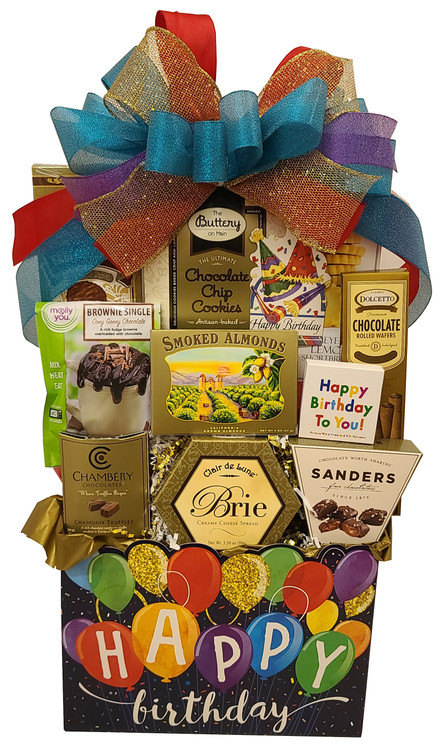 This festive and sparkly design will brighten their special day! Gift includes:  Brie Cheese Crackers Chocolate filled wafer cookies Chocolate Chip Cookies Chocolate Sea Salt Caramels Delicious Fudge Cake to bake in a mug in the microwave in minutes French Chocolate Raspberry Truffles California Smoked Almonds Chocolate Truffle Cookies\ Rustic Bakery Shortbread Cookies Happy Birthday Matches Keepsake Birthday Box Organizer  Items of equal or greater value may be substituted depending on availability and the discovery of great new items