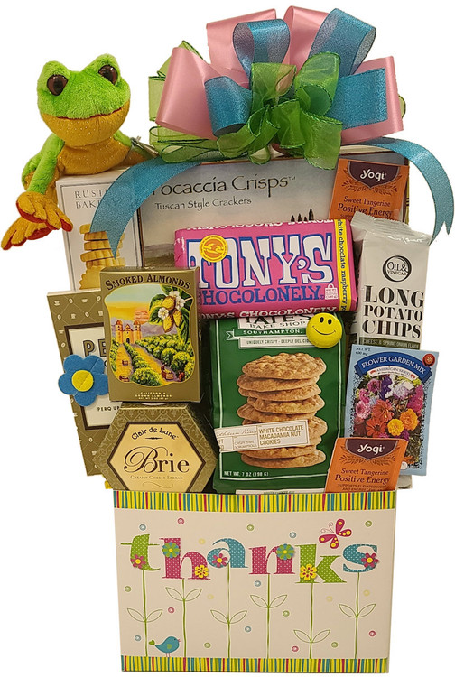 This gift is designed in a pretty, spring theme, gift box. It makes a great organizer after the goodies are gone. Includes:  An adorable frog, to remind the recipient that they make you hoppy! Flower seed packet Imported Long Chips Tea Coffee Gourmet cookies Cheese Crackers Chocolate bar Items of equal or greater value may be substituted depending on availability and the discovery of great new products.