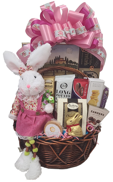 This extra large Easter basket is great for the whole family to share   (Let us know if you need one or more bunnies added) Full of sweet and savory delights, this gift includes:  A fancy, poseable bunny that makes a great holiday enhancement in the home every Easter. Savory Long Chips Chocolate filled pastry cookies Chocolate chip cookies Chocolates Chocolate Cookies Gourmet Pretzels Cheese Crackers Shortbread Snacks Items of equal or greater value may be substituted depending on availability and the discovery of great new products.