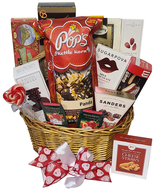 For the Mom that loves sweet and savory snacks! This gift includes chocolate popcorn, assorted cookies, shortbread, gourmet pretzels, chocolate, and even a heart shaped lollipop!