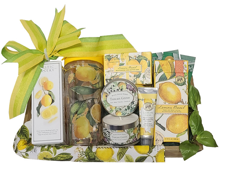 A bright, lemony fresh design that features an artsy, designer travel mug along with triple milled moisturizing soap, candle, lemon basil hand and body cream, lemon basil hand cream, Meyer Lemon shortbread from the Rustic Bakery and a wood crate.   Items of equal or greater value may be substituted depending on availability.