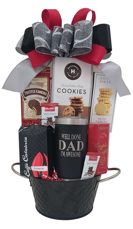 """We guarantee dad will get a big chuckle when he gets this, and every time he uses it and sees the humorous text on his travel mug!  Great for Dad's birthday or Father's Day Gift! Designed in a modern black and silver tin, the gift includes:  Elegant Travel Mug with humorous saying """"Well Done Dad, I'm Awesome!"""" Rich and Delicious Calabria Coffee - Freshly roasted! So good! French Truffles Chuao Chocolates  Chocolate Chip Cookies Meyer Lemon Shortbread Chocolate Truffle Cookies Modern black and silver metal tin  Items of equal or greater value may be substituted depending on availability and the discovery of great new products"""
