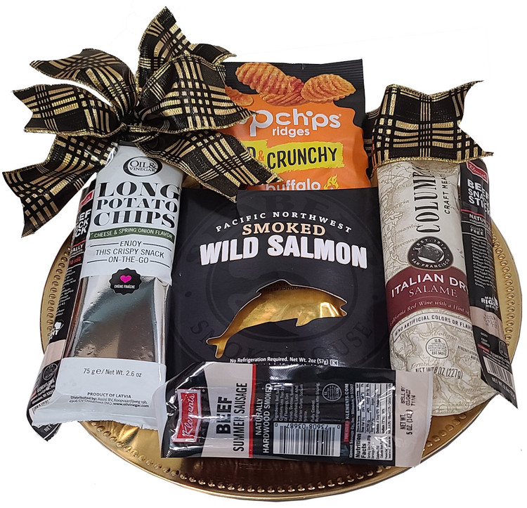 We have packed an elegant gold serving tray with beef sticks, salami, summer sausage, wild Alaskan salmon, savory and unique long potato chips, and bold and crunchy potato pop chips. Great birthday or Father's Day gift.