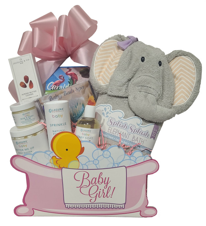 This absolutely adorable gift comes in a bubble bath and duckie themed box, and includes some treats for Mom and Dad, and very special gifts for baby. Includes:  Keepsake Baby Bath Box  Soft, Plush Elephant hooded towel  Baby Spa CD  Butter Me Up Body Butter - 100 % natural and organic  Sprinkle - Natural Powder - 100% natural and organic  Bum And Body Balm - 100% natural and organic  Baby Soft Body Oil - 100% natural and organic  Cookies  Tea