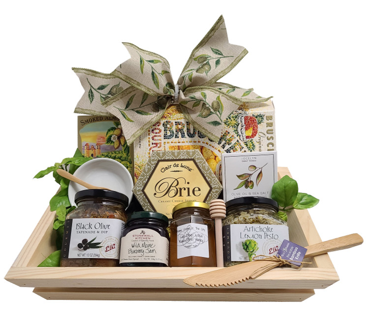 This gift is presented in a nice wood tray and is filled with delicious sweet and savory snacks to dip or spread on crackers. Includes:  Slatted Wood Tray Bruschetta Appetizer Crackers  California Almonds Creamy Brie Black Olive Tapenade Artichoke Lemon Pesto Honey and Twirler Jam Porcelain Dish  Mini Bamboo Spoon Bamboo Knife