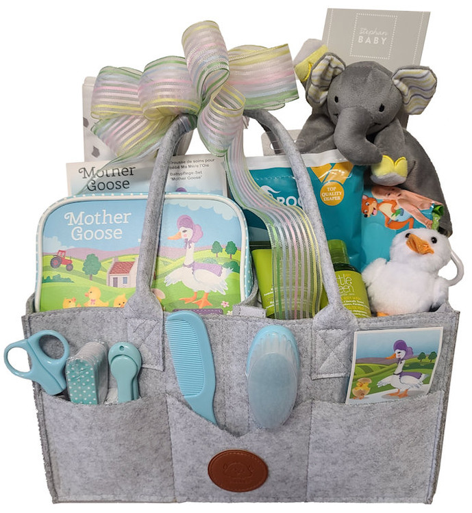 An organizer tote for Mom that goes with any color outfit, is full of compartments, including customizable interior compartments, and is filled with baby essentials. It includes a diaper changing kit, complete Mother Goose zippered pouch with baby grooming essentials, soft toy, baby lotions, and snacks for the Mom On The Go.