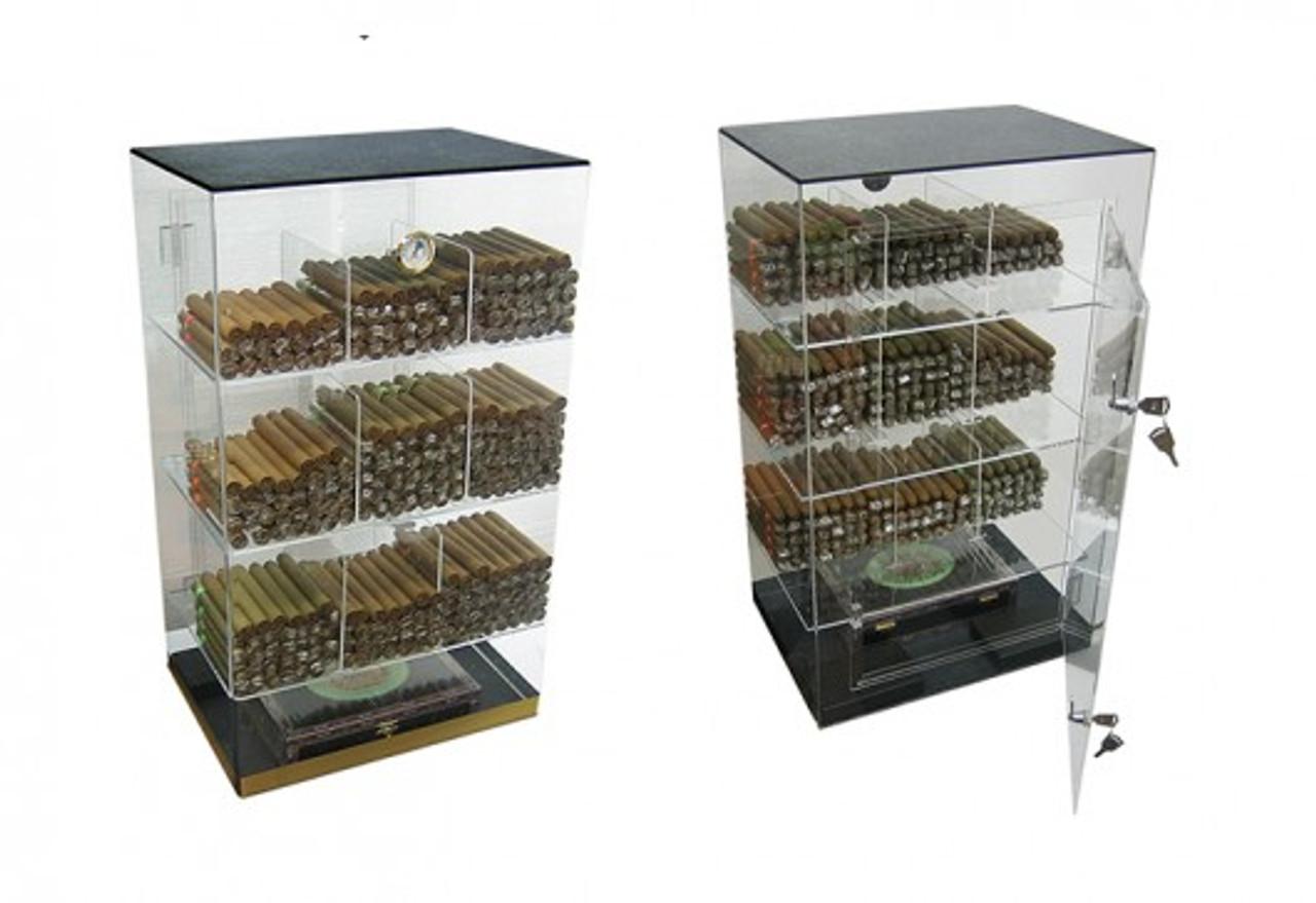 The Roosevelt: 9 Bin Acrylic Display Cigar Humidor