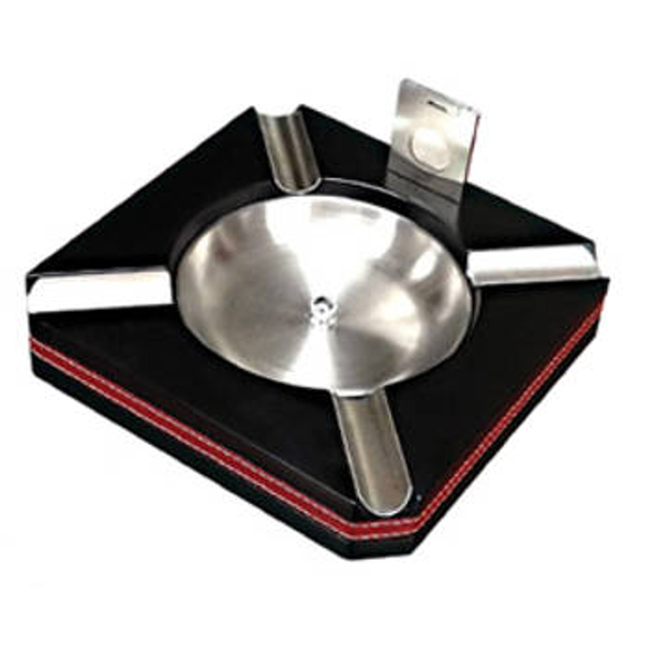 Leather Trim Ashtray with Cutter
