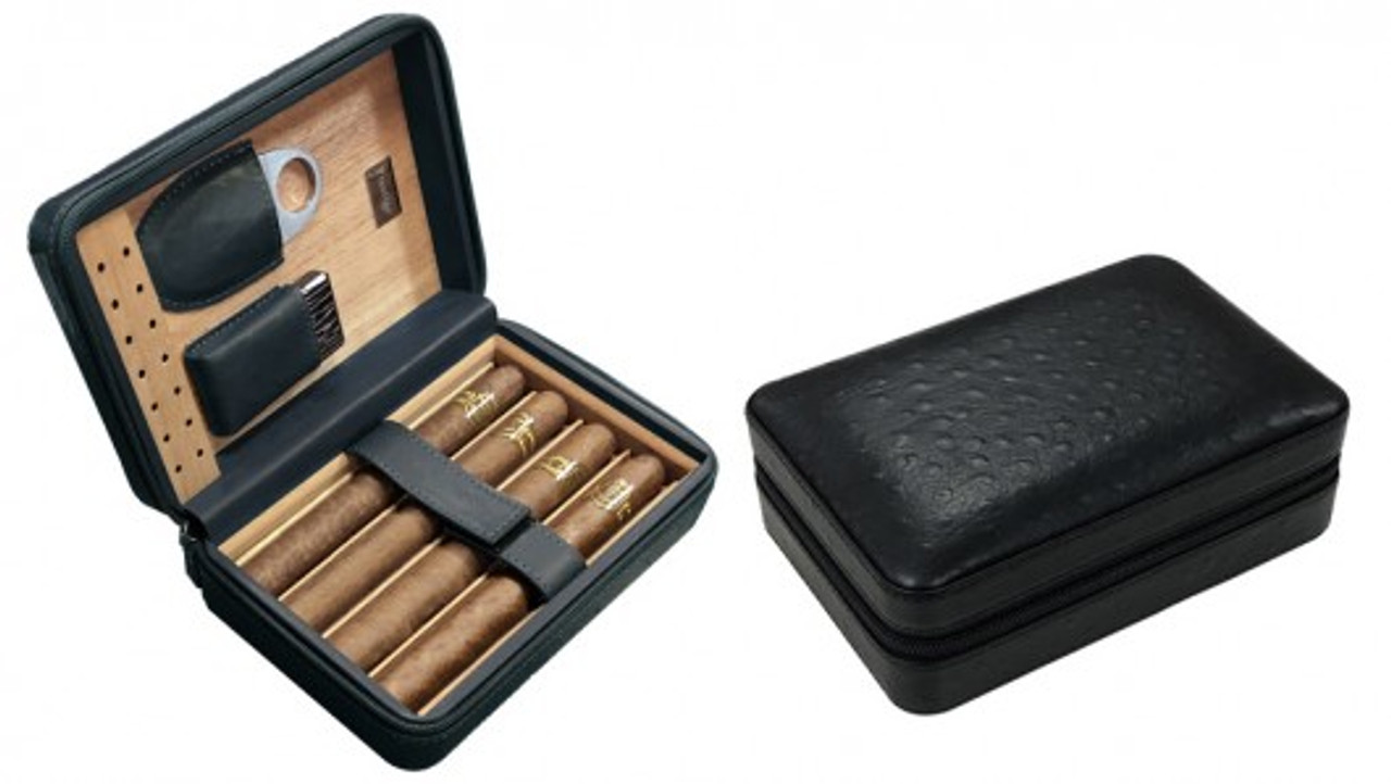 The Manhattan Travel Cigar Case Humidor - Black