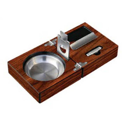 Folding Cigar Ashtray with Cutter Set