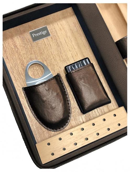 The Manhattan Travel Cigar Case Humidor -Brown