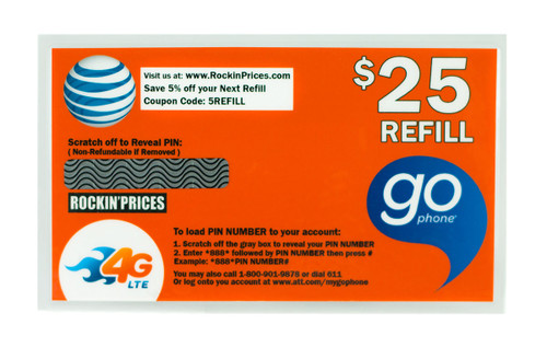 AT&T Go phone $25 Refill PIN - Refill Card - Top Up - 90 Day Expiration.