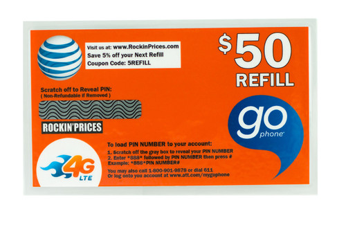 AT&T Go phone $50 Refill PIN - Refill Card - Top Up - 90 Day Expiration.