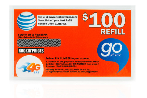 AT&T Go phone $100 Refill PIN - Refill Card - Top Up - 365 Day Expiration.