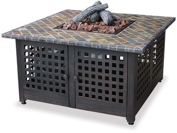 Uniflame Uniflame LP Gas Outdoor Firebowl with Slate and Marble Mantel