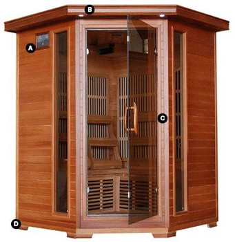 HeatWave HeatWave Hudson Bay 3 Person FAR Infrared Carbon Fiber Cedar Corner Sauna