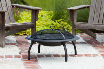 Well Traveled Living Folding Wood Burning 29 inch Round FirePit