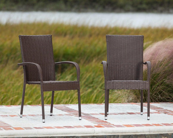 Well Traveled Living Weather Resistant Morgan Wicker Chair 4-Pack