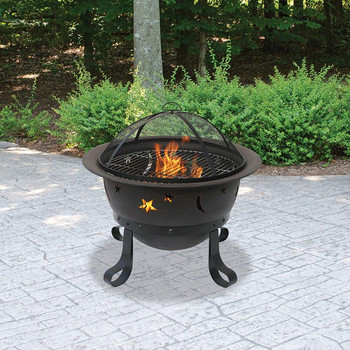Endless Summer Endless Summer Oil Rubbed Bronze Wood Burning Outdoor Fire Pit with Stars And Moons