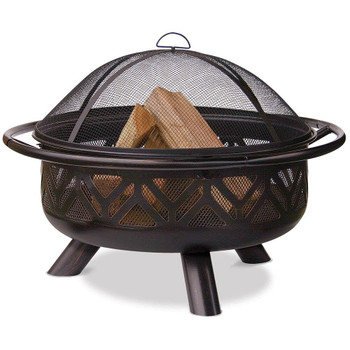 Endless Summer Endless Summer 30 In Oil Rubbed Bronze Wood Burning Outdoor Fire Pit with Geometric Design