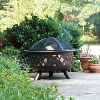 Endless Summer Endless Summer 30 in Oil Rubbed Bronze Wood Burning Outdoor Fire Pit with Lattice Design
