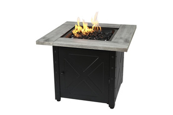 Endless Summer The Mason 30 Square Gas Outdoor Fire Pit with Printed Wood Lat look Cement Resin Mantel