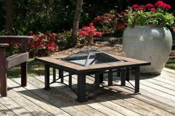 Well Traveled Living Tuscan Tile Fire Pit with decorative mission style base