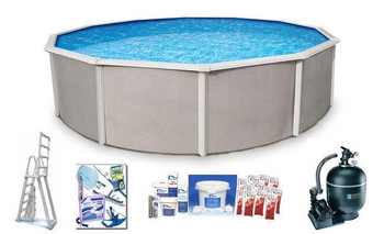Asahi Pools Belize Round Above Ground Swimming Pool Package 52 Deep with 6 Top Rail