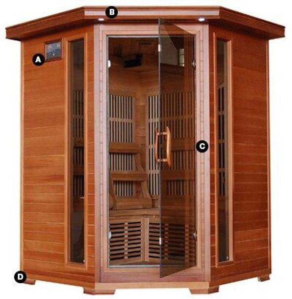 HeatWave HeatWave Hudson Bay 3 Person FAR Infrared Carbon Fiber Cedar Corner Sauna