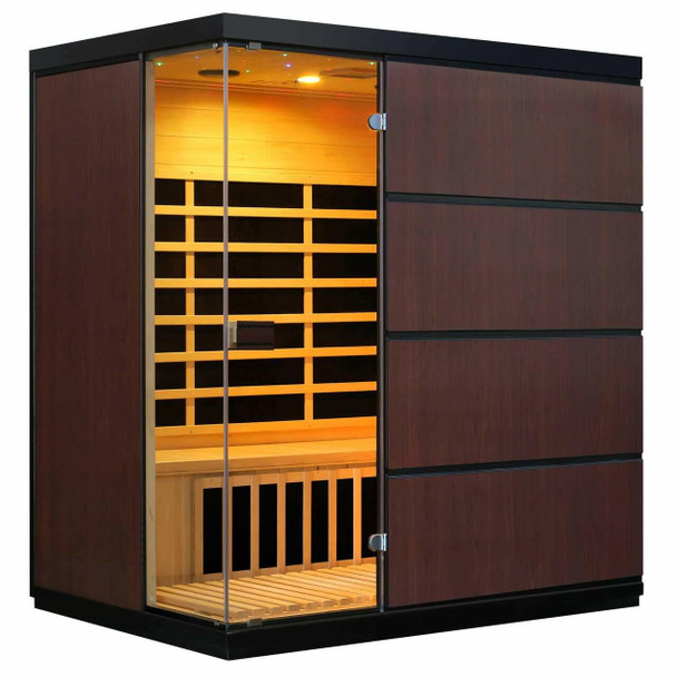 Blue Wave Sirona 4-Person Hemlock Infrared Sauna with 8 Carbon Heaters