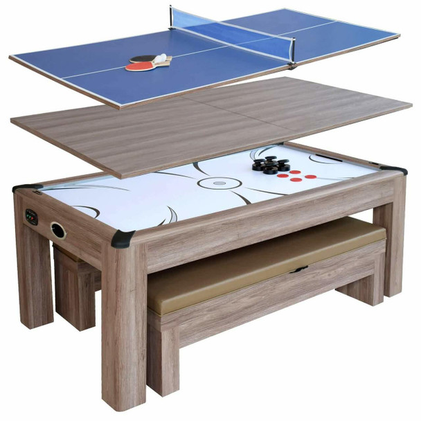 Blue Wave Driftwood 7-ft Air Hockey Table Tennis Combo Set w/Benches